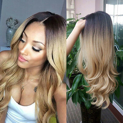 Women Ladies Blonde Ombre Hair Full Wig Fashion Style Black Root Long Curly Wigs