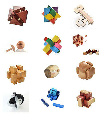 12 Styles Wooden Unlock Puzzle Key Classical Wood Kong Ming Lock Education Toy G