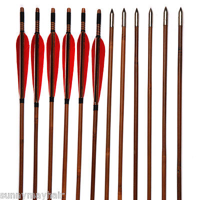 "12pc Compound Bow Hunting Arrows Bamboo Shaft True Turkey Feathers 34"" OD 7.8mm"