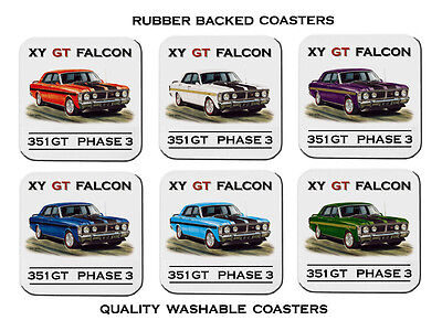 Ford  Xy  Gtho  Falcon  Phase 3  351Gt         Set Of  6  Rubber Drink  Coasters