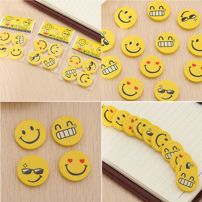 12pcs Emoji Smile Erasers Rubber Eraser Assorted Stationery School Study Gift