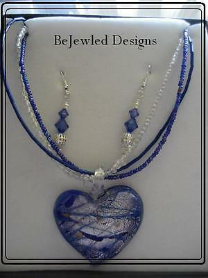 Glass Heart Pendant Necklace Earring Set~Handcrafted~New~ Pierced or Clip-On