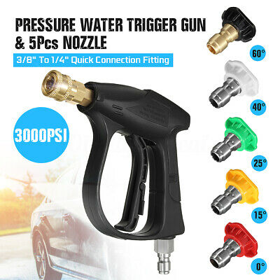 3000PSI High Pressure Washer Water Jet Gun + 5pcs Nozzle Car Clean Quick Release