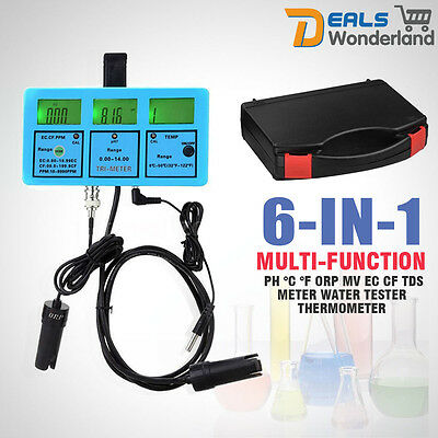 6 in 1 pH/ORP/Temp/Conductivity EC/CF/TDS(PPM) Water Quality Testing Meter LF0P