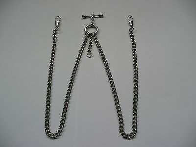 unusual double albert silver plated  pocket watch chain fob t bar