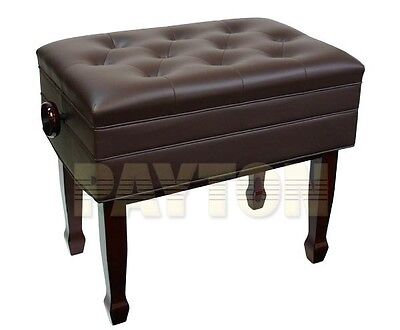 Paytons Deluxe Adjustable Piano Bench with Compartment - Mahogany