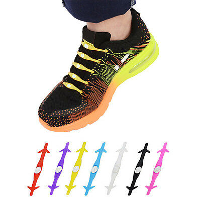 12x Unisex Elastic Silicone No Tie Shoelaces for All Sneakers Running Shoes New