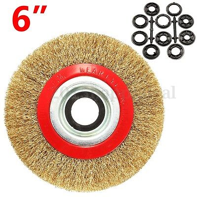 6'' 150mm Wire Brush Wheel For Bench Grinder Polish + 10 Reducers Adaptor Rings