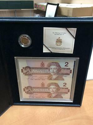 1996 Canada Piedfort Proof Silver $2 Dollar Coin And Banknote Set