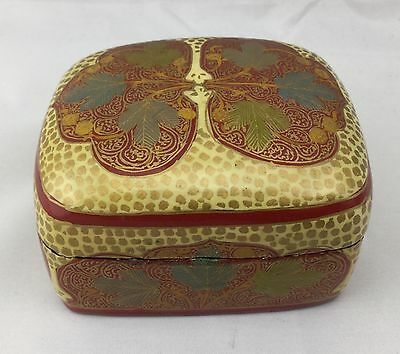 HAND PAINTED 22k  GOLD LEAF TRINKET BOX