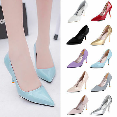Ladies High Heels Patent Leather Pointed Toe Corset Work Pumps Court  Shoes Size