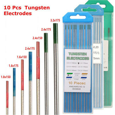 10Pcs 1.0-3.2mm WL20/WT20/WP TIG Tungsten Electrode Assorted Welding Electrodes