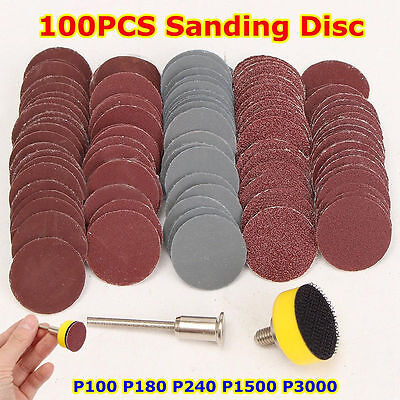 Abrasives 1*Hook + Loop Backer 1/8inch Shank + 100Pcs SandPaper Sanding Disc Set
