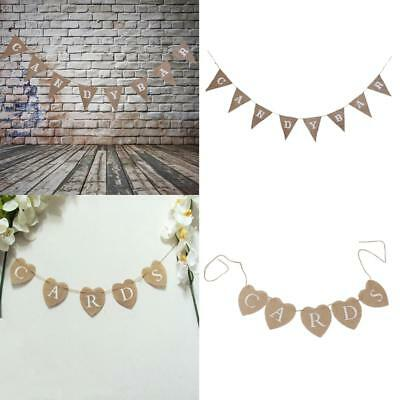 Rustic CARDS+CANDY BAR Wedding Birthday Baby Shower Jute Banner Hanging Sign