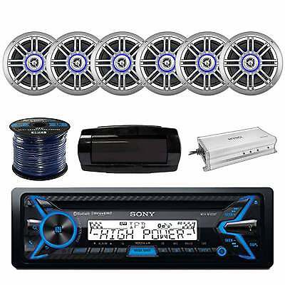 Marine CD Receiver With 150W SPKR, 4-Chan Amp, SPKR Wire & In-Dash Radio Cover