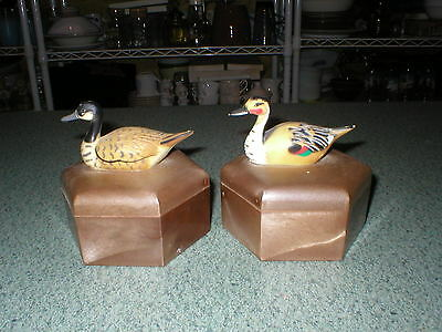 2 Vintage Plastic Resin Goose/geese Ducks Storage Trinket Box/boxes