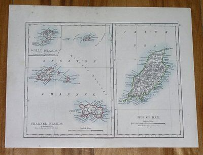 1893 Antique Map Of Channel Islands Jersey Guernsey / Isle Of Man / London