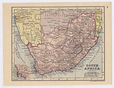 1911 Original Antique Map Of South Africa Transvaal / Africa German Colonies