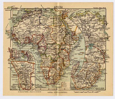 1931 Miniature Map Of Africa Showing Former German Colonies