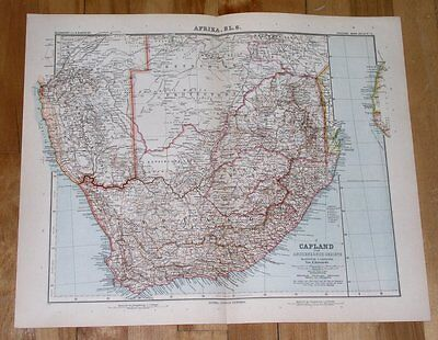 1908 Original Antique Map Of South Africa Orange Cape Colony Transvaal Namibia