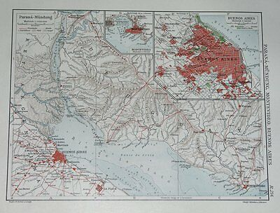 1924 Original Map Of Buenos Aires And Vicinity / Argentina Uruguay Montevideo