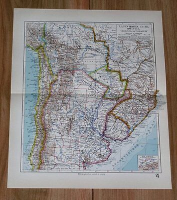 1928 Original Vintage Map Of Argentina Buenos Aires Chile Brazil South America