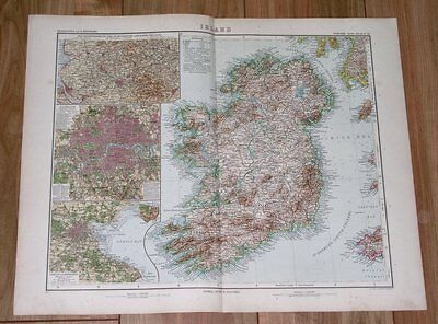 1905 Antique Map Of Ireland / Munster Connaught Ulster Cork Galway Dublin Map