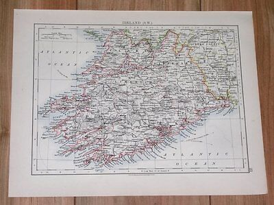 1906 Antique Map Of Ireland / Cork Kerry Limerick Clare Tipperary / Dublin