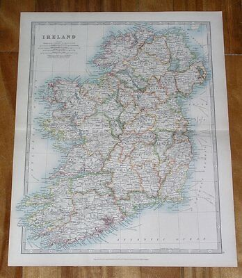 1913 Antique Map Of Ireland / Munster Connaught Ulster Cork Galway Dublin Map