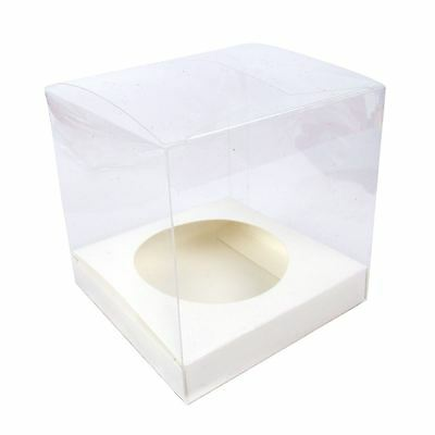 8cm Clear Cube Cupcake Boxes - PVC Wedding Favour Crystal Single Cake Box