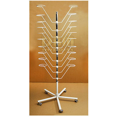 WHITE 20 Hat Cap Display Rack Floor Stand 10 Tier Spinner Rotate Fixture Rolling