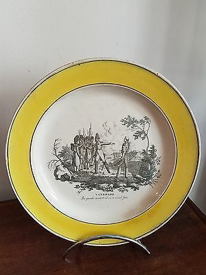 ASSIETTE EMPIRE CREIL BORDURE JAUNE WATERLOO EMPEREUR NAPOLEON 1er