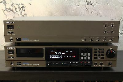 SONY Pro DAT recorder player PCM 2500A + PCM 2500B + Original Connecting Cables