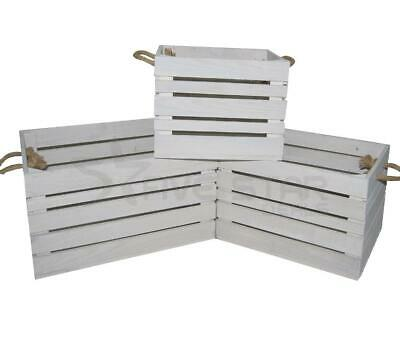 Shabby Chic Vintage Wooden Slatted Crate Rustic Display Storage Box Shop Farm