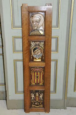 Antique French Renaissance Carved Panel with Original European Painted Art