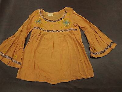 TRUE Vintage 60s 70s Orange Empire Waist Blouse Shirt Embroidered Hippy Peasant