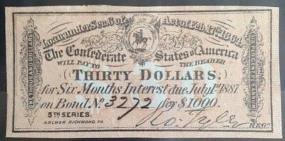 A Civil War, $30 Interest receipt, from a 1864 Confederate $1000 Bond, *Super*