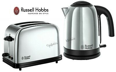 Russell Hobbs Kettle and Toaster Set Polished Silver Kettle & 2-Slot Toaster New