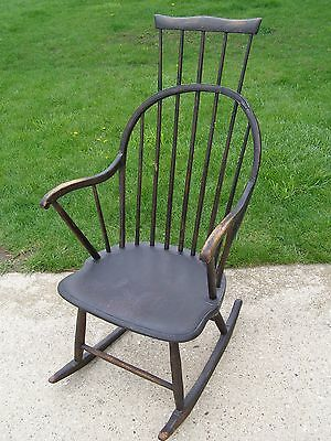 Antique 18th Century New England Tall Comb Back Black Wood Rocking Chair
