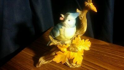 "Lefton Blue Jay on Branch With Fall Leaves/Acorns 6"" Tall Figurine"