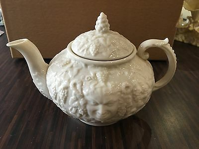 Belleek Ireland Bacchus Mask Teapot Brown Mark excellent condition