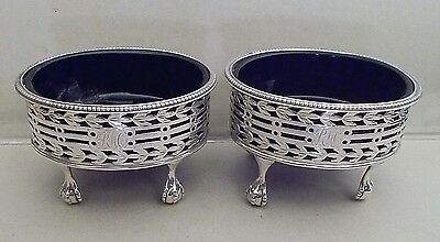 Pair antique Georgian solid silver salt cellars, Hester Bateman, London 1779