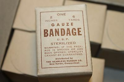 "Original WW2 Era U.S. Military ""Gauze, Bandage"" Sealed in Box from Original Lot"