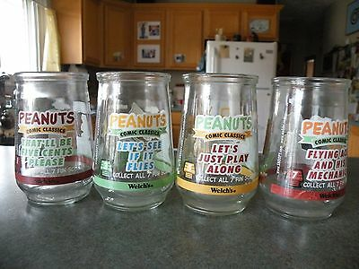 Four Welch's Peanuts Glasses  #1 3 5 7 Snoopy Charlie Brown Lucy Schroeder Sally