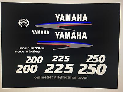 Yamaha  200/225/250 hp 4-Stroke Outboard Decal Kit   Marine vinyl
