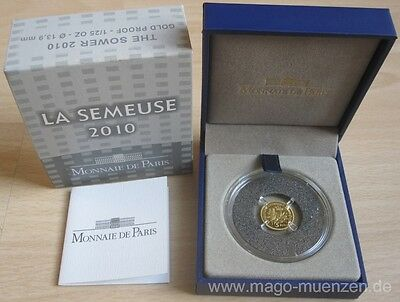 France 5 Euro 2010 Semeuse / Sower 50 Years New Franc 1/25 Oz Gold
