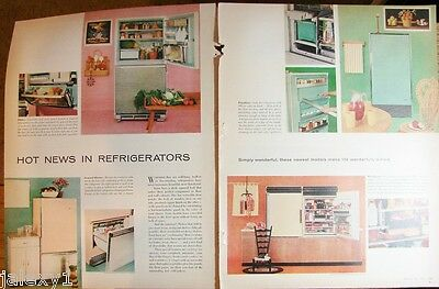 1958 GE PINK Refrigerator FRIGIDAIRE Blue Kitchen APPLIANCE Retro 2pg Article Ad