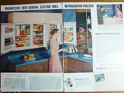 1955 GE General Electric WALL Refrigerator PETAL PINK Kitchen Appliance Retro Ad