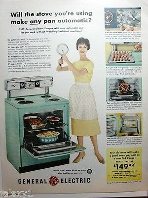 1959 GE General Electric AQUA RANGE Stove Kitchen APPLIANCE Retro PYREX 50s Ad