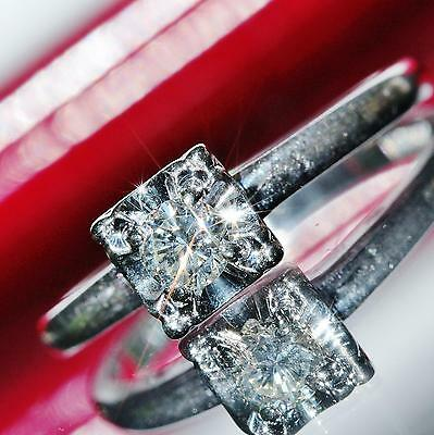 1920's Antique 14k white gold 0.25ct FVS2 diamond solitaire engagement ring 2.0g